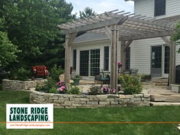 Flagstone wall and ornate cedar pergola-Goshen-Elkhart-Granger-Warsaw